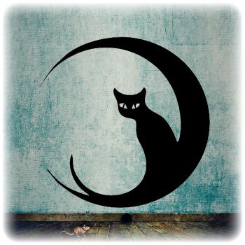 Многоразовый трафарет Луна и кошка