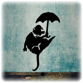 Одноразовый трафарет Крыса с зонтиком