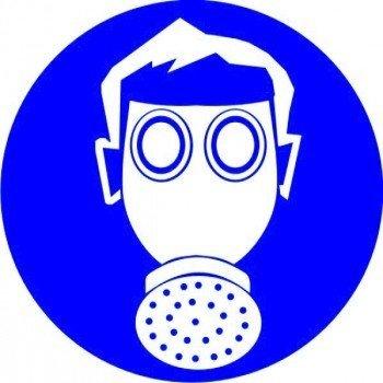 Наклейка Работать в средствах защиты органов дыхания