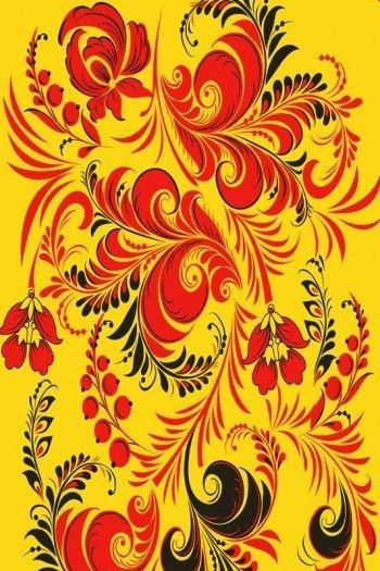 Наклейка на планшет Жёлтая Хохлома