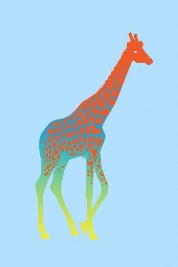 Наклейка на планшет Цветной Жираф