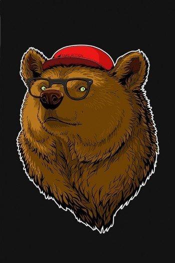 Наклейка на планшет Медведь В Очках