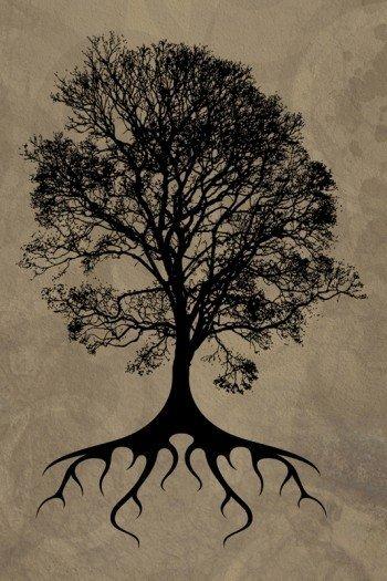 Наклейка на планшет Силуэт Дерева
