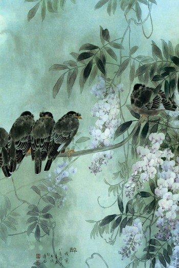 Наклейка на планшет Птицы В Цветах
