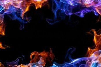 Наклейка на ноутбук Синее Пламя на Звёздном Небе