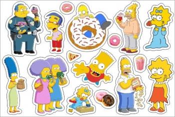 Стикерпак Набор наклеек А5 Симпсоны