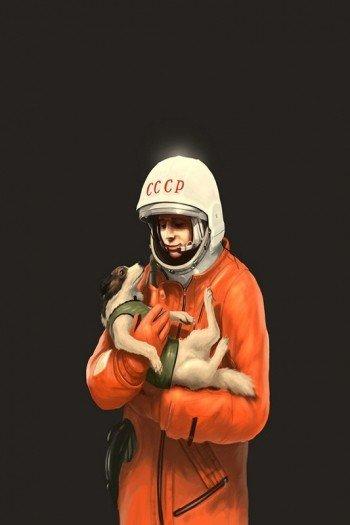 Наклейка на планшет Гагарин