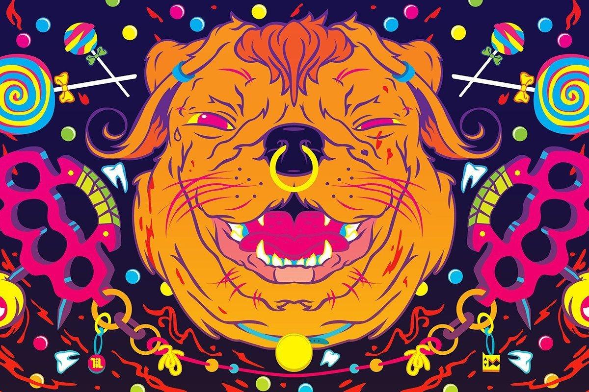 Наклейка на ноутбук Космо-пес