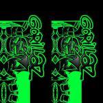 Наклейка на телефон GORILLAZ / Green symbols