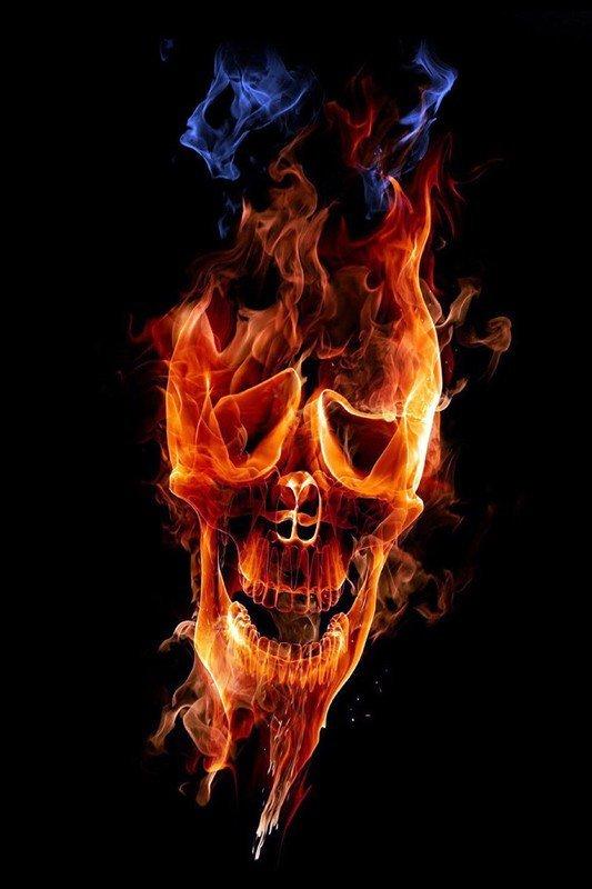 Наклейка на планшет Огненный Череп